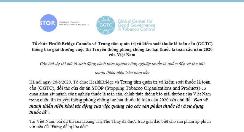 Tổ chức HealthBridge Canada và Trung tâm quản trị và kiểm soát thuốc lá toàn cầu (GGTC) thông báo giải thưởng cuộc thi Truyền thông phòng chống tác hại thuốc lá toàn cầu năm 2020 của Việt Nam