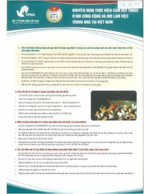 Khuyến Nghị Thực Hiện Cấm Hút Thuốc ở Nơi Công Cộng và Nơi Làm Việc Trong Nhà tại Việt Nam