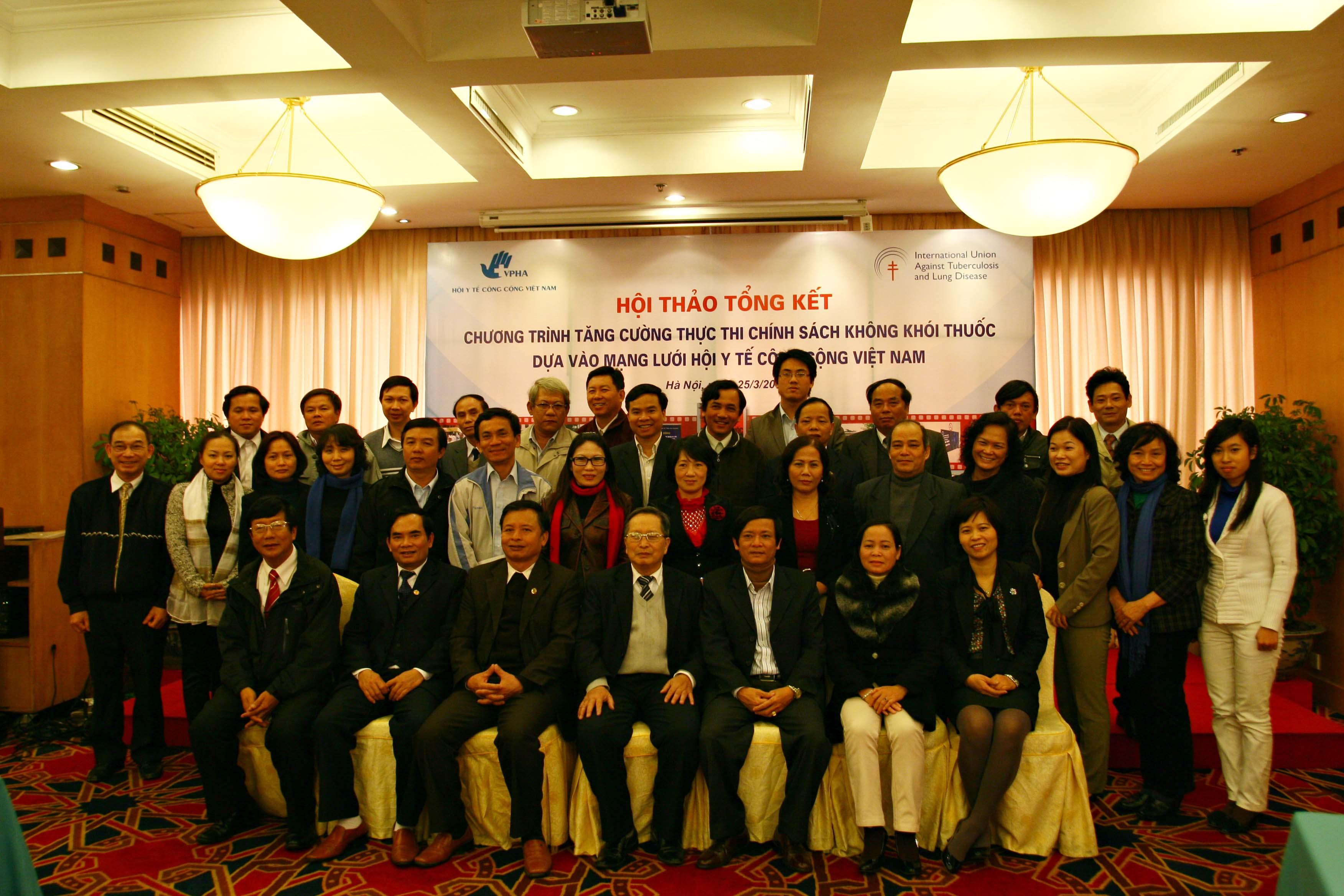 Hội thảo tổng kết Chương trình tăng cường thực thi chính sách không khói thuốc dựa vào mạng lưới Hội y tế công cộng VN